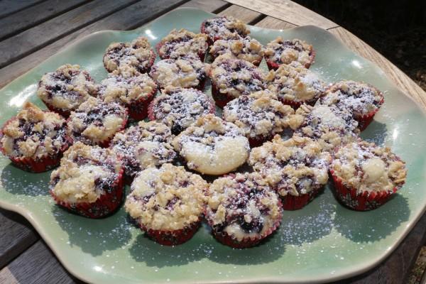 Blåbärsmuffins med crumble