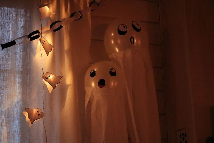 halloweenpyssel: spökljuslinga