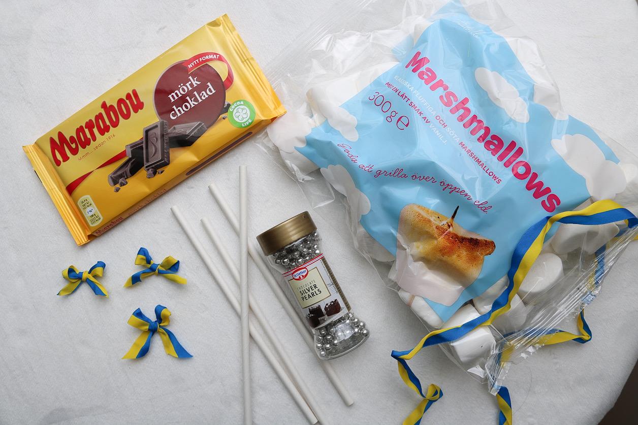 Marschmallows, choklad, sugrör