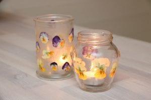 Glasburk pressade blommor